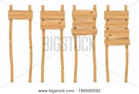 3d rendering of four wooden poles with one, two, three and four planks on them. Message board. Directional sign. Attention.
