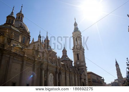 View Of El Pilar Cathedral In A Sunny Day In Zaragoza, Spain