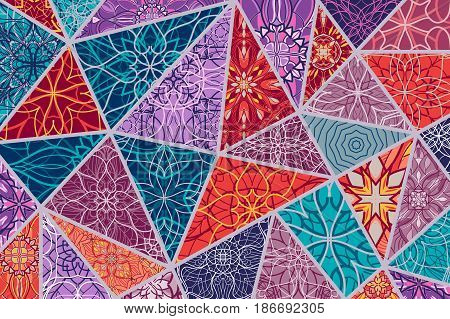 Vector decorative background. Mosaic patchwork pattern for design and fashion. Arabic, oriental, asian, floral motifs