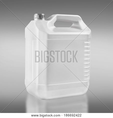 Plastic white container for storage of technical liquids