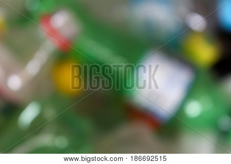 Recycle plastic bottles blurred background Abstract blur background