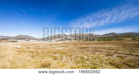 Perisher Valley ski resort on a clear autumn day in New South Wales, Australia