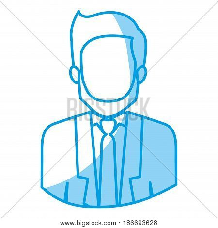 blue silhouette with half body of faceless man with beard and formal suit vector illustration