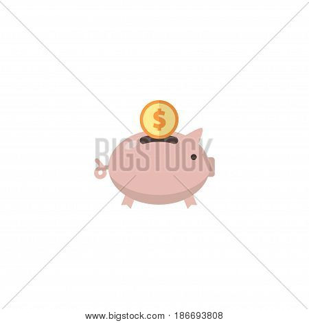 Flat Accumulation Element. Vector Illustration Of Flat Moneybox Isolated On Clean Background. Can Be Used As Moneybox, Accumulation And Saving Symbols.