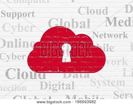 Cloud computing concept: Painted red Cloud With Keyhole icon on White Brick wall background with  Tag Cloud