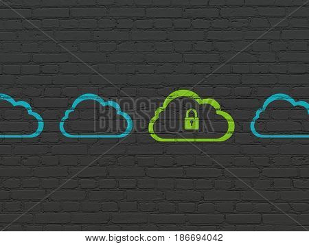 Cloud computing concept: row of Painted blue cloud icons around green cloud with padlock icon on Black Brick wall background