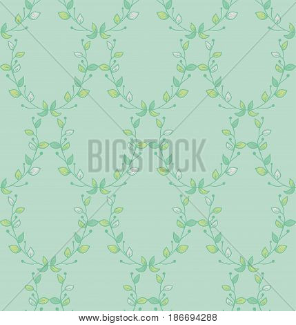 Vector Colorful Decorative Seamless Backdround Pattern with Drawn Herbs, Plants, Branches. Doodle Style Greenery, Lush Foliage, Foliate. Vector Illustration. Pattern Swatch