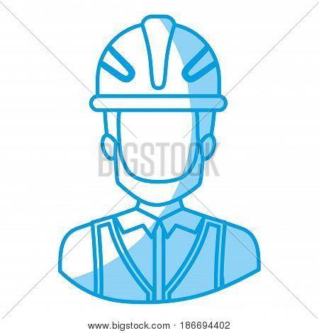 blue silhouette with half body of faceless male bearded architect with helmet vector illustration