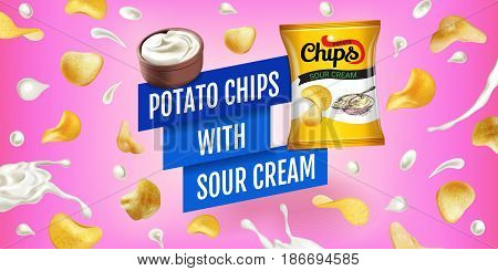 Potato chips ads. Vector realistic illustration of potato chips with sour cream. Horizontal banner with product.