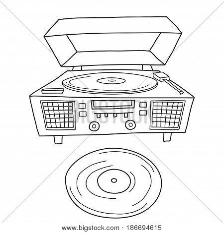 Sketched gramophone talking machine. Vintage gramophone isolated on white.