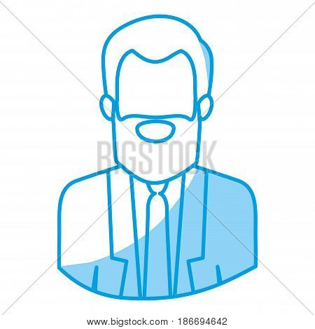 blue silhouette with half body of faceless bearded man with formal suit vector illustration