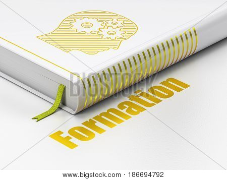 Education concept: closed book with Gold Head With Gears icon and text Formation on floor, white background, 3D rendering