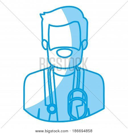 blue silhouette with half body of faceless bearded doctor vector illustration