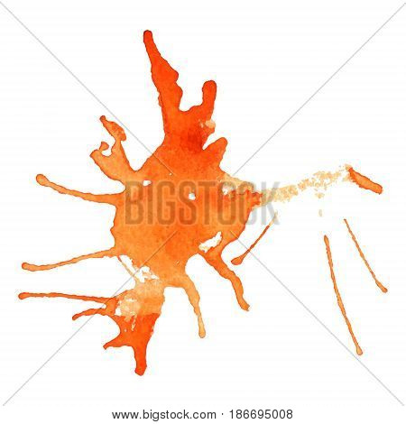 Vector watercolor blob, isolated on white background. Illustration for grunge design. Hand painted stain.