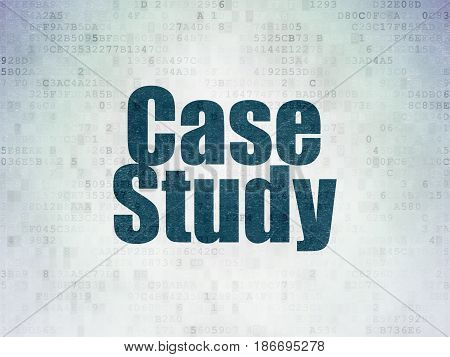 Learning concept: Painted blue word Case Study on Digital Data Paper background