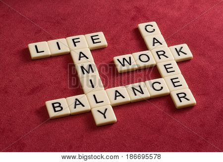 Crossword Puzzle With Words Life, Work And Balance. Life Balance Concept.