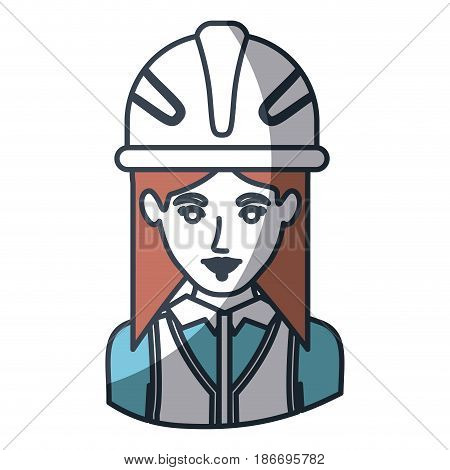 color silhouette and thick contour of half body of female architect with helmet vector illustration
