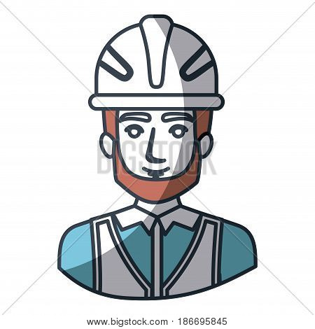 color silhouette and thick contour of half body of male bearded architect with helmet vector illustration