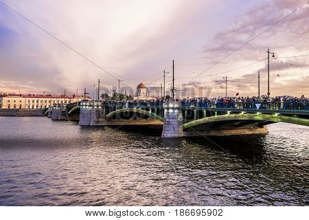 Saint-Petersburg.Russia.20 Jun 2014. View on the Birzhevoy bridge at sunset in St. Petersburg