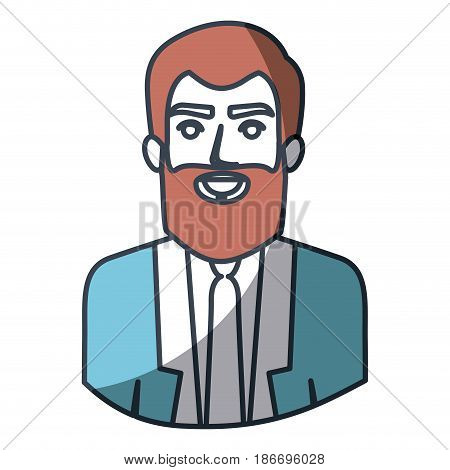 color silhouette and thick contour of half body of man with beard and formal suit vector illustration