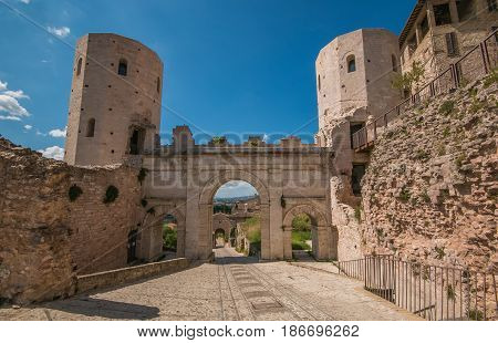 Porta Venere, city gate of Roman arch in Spello, Umbria