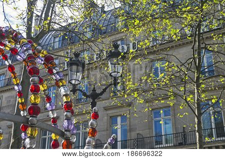 PARIS FRANCE - APRIL 2 2017: Details of the decoration of the entrance to the metro at the station Palais Royal - Musee du Louvre. Paris France.