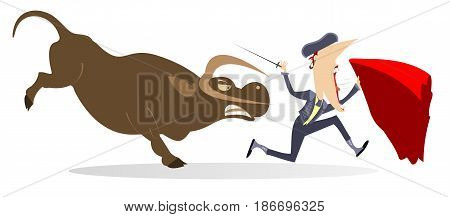 Bullfighter and angry bull isolated. Frightened bullfighter with sword and cape runs away from the angry bull