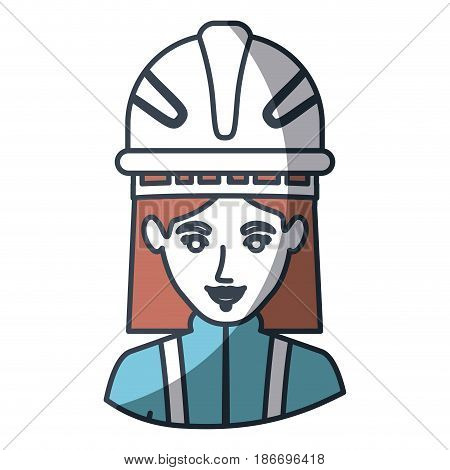 color silhouette and thick contour of half body of female firefighter vector illustration