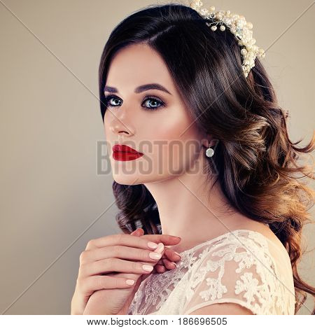 Beautiful Bride with Classical Style Makeup and Hairstyle.Fashion Model Fiancee Face Closeup