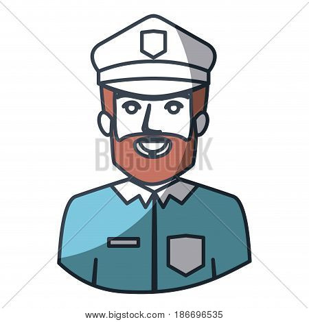 color silhouette and thick contour of half body of bearded policeman vector illustration