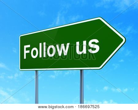 Social media concept: Follow us on green road highway sign, clear blue sky background, 3D rendering