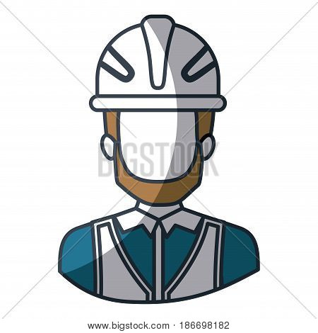 color silhouette and thick contour of half body of faceless male bearded architect with helmet vector illustration