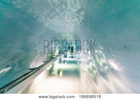 Jungfraujoch Switzerland - April 29 2017: View of the Jungfraujoch station Ice Palace It's the highest elevated point to reach by a cog railway in Europe at Jungfrau Switzerland.