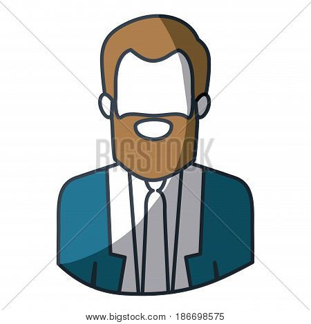 color silhouette and thick contour of half body of faceless bearded man with formal suit vector illustration