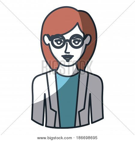 color silhouette and thick contour of half body of woman with glasses and formal suit vector illustration