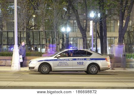 Moscow, Russia - May, 4, 2017: police car in Moscow at night