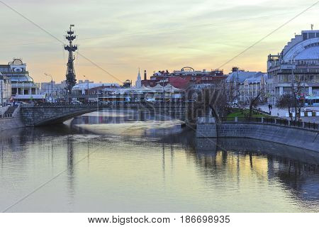 Moscow, Russia - April, 4, 2017: Panorama of a center of Moscow at sunset
