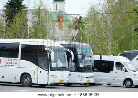 Moscow, Russia - May, 7, 2017: touristic buses in the center of Moscow