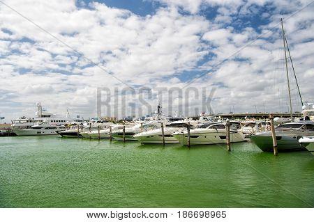 Marina In Miami Beach, Florida, Usa