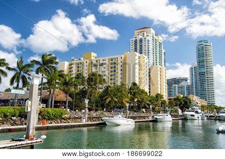 Marina With Yacht In Miami Beach, Florida, Usa