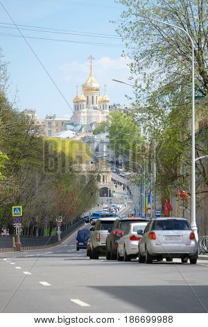 Moscow, Russia - May, 5, 2017: View of Petrovsky Boulevard in Moscow, Russia