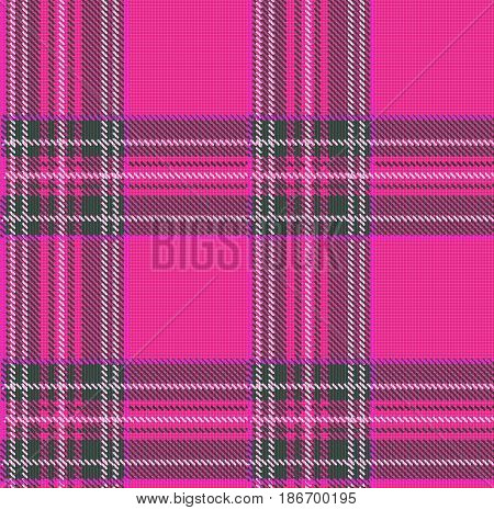 Seamless Tartan Plaid Vector Pattern Background with Fabric Texture