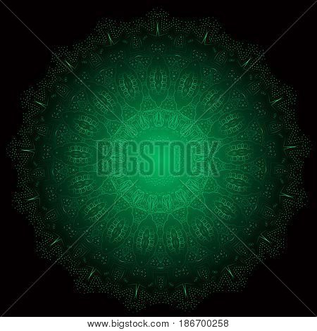Ethnic Fractal Glowing Mandala Vector Meditation looks like Snowflake or Maya Aztec Pattern or Flower