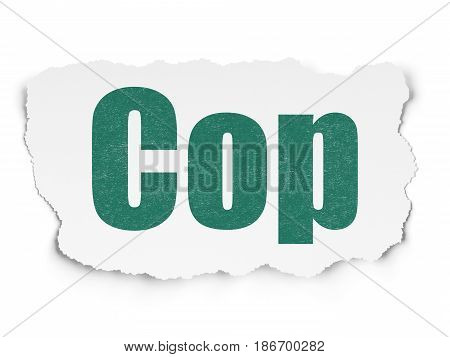 Law concept: Painted green text Cop on Torn Paper background with  Tag Cloud