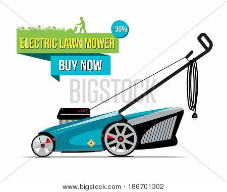 Vector illustration of grass-cutter with electric lower mower buy now words isolated on white.