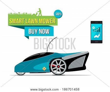 Vector illustration with electric smart lawnmower. Sale banner.