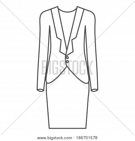 monochrome silhouette of female formal suit clothes vector illustration