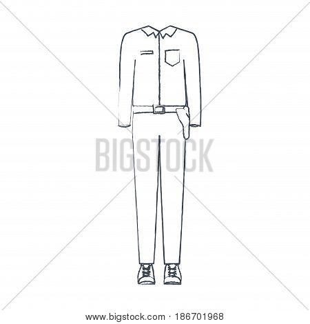 monochrome blurred silhouette of uniform of policewoman vector illustration