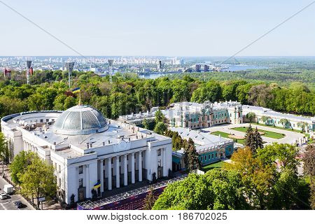 Above View Of Kiev City In Spring