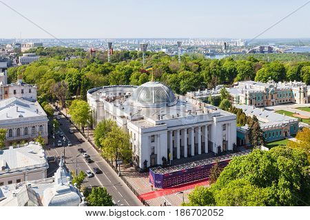 Above View Of Kiev City With Rada In Spring